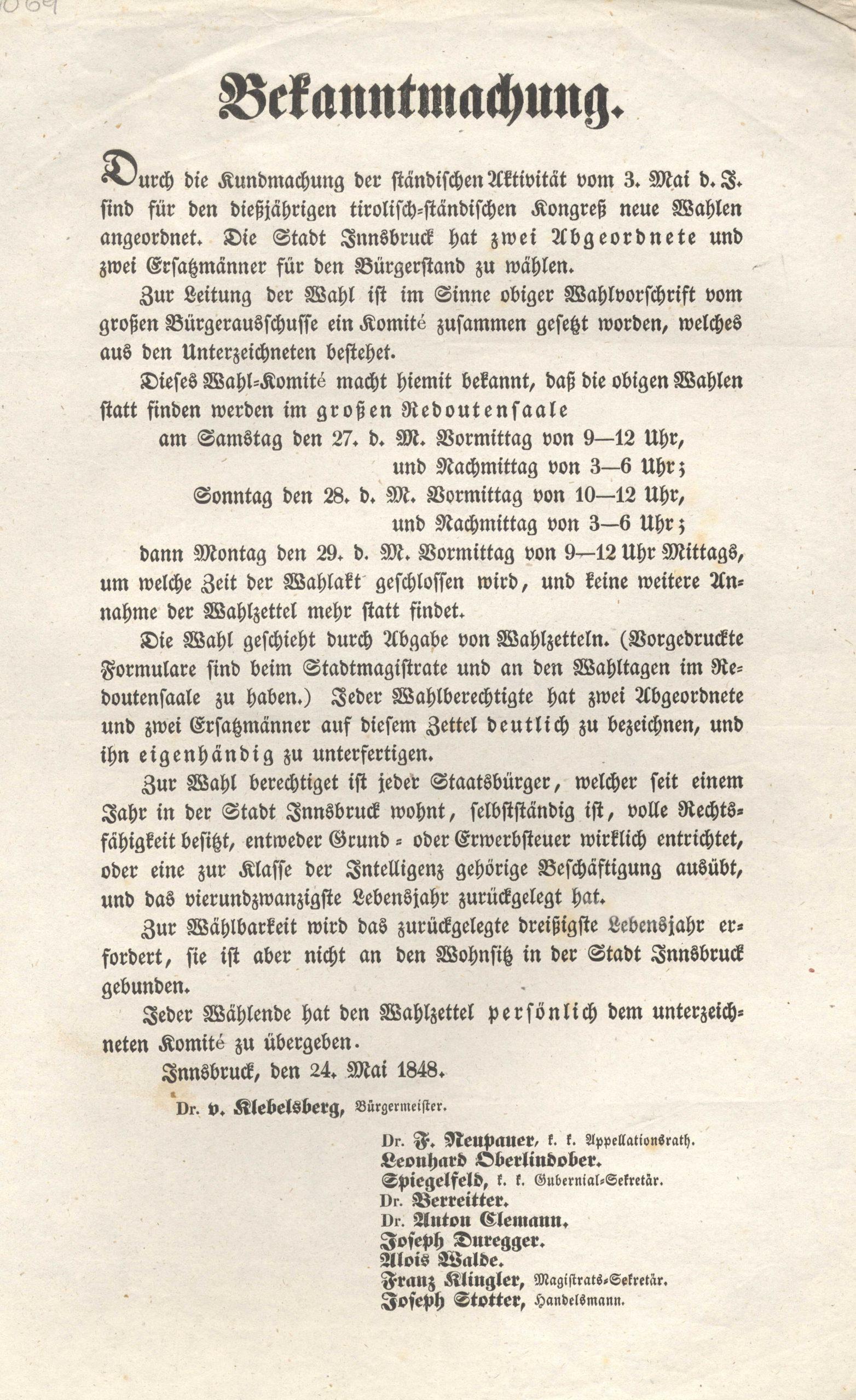 Wahlen Anno 1848